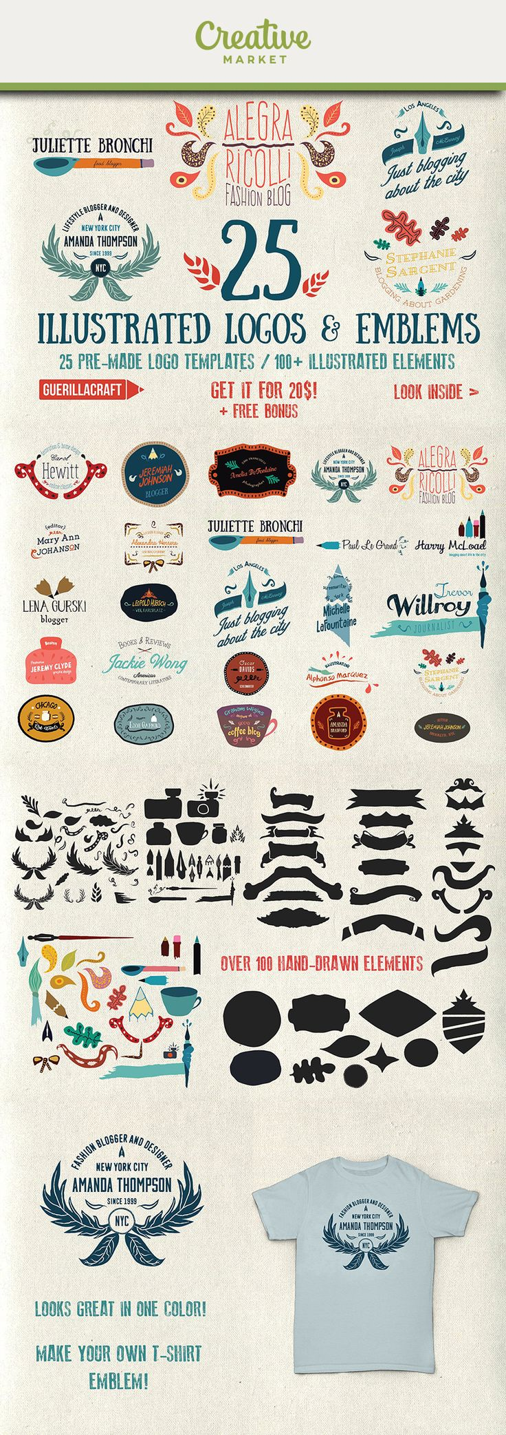 Ad: 25 brand new illustrated logo and emblem templates that will brighten your design. Everything is pretty colorful, bold, and fully editable. You can take control over every detail in the design – resize it, make variations, choose your favorite font and color palette.This series is dedicated to all bloggers, journalist, creative writers or everyone that loves writing! There is over 100 mostly hand-drawn elements - pencil, pens, inks, tips, curls, swirls, flowers, etc. Photoshop…