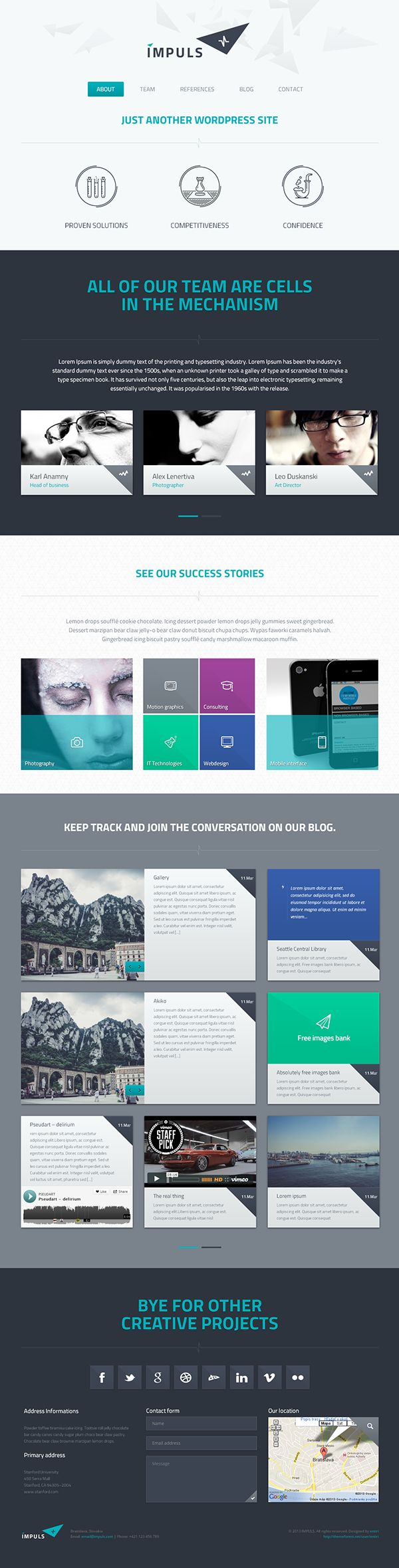 IMPULS is a responsive HTML template based on Twitter Bootstrap framework. This template has been designed as a single page graphics solution suitable for business, non-profit organizations, website portfolio or product single sites with the support of re…
