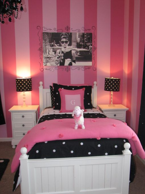 Black White Pink Paris Themed Bedroom Love The Stripes Love Love Love The Audrey Hepburn Picture Behind The Bed