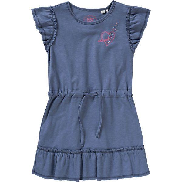 Mit UV-Schutz 30+ kommt dieses niedliche Kinder Kleid von EAT ANTS BY SANETTA aus Slubjersey daher und liegt außerdem dank der Verwendung reiner Baumwolle angenehm auf der Haut. Ein Tunnelzug in Taillenhöhe lässt die Weite individuell einstellen. <br /> <br /> - UV-Schutz: UPF 30+<br /> - Flügelärmel mit Rüschenbesatz an der Naht<br /> - süßer Labelprint mit Glitzersteinchen auf Brusthöhe<br /> - Rockteil mit Rüschendetails<br /&g...