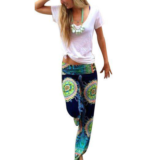 West See Frauen-Harem Kausal Wide Leg Yoga lose lange Palazzo Hosen Hosen Baggy: Amazon.de: Bekleidung