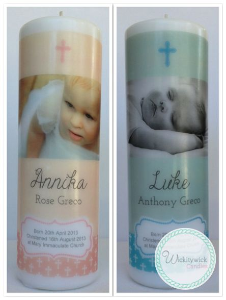 Vatican Personalised Photo Candle by Wickitywick Candles #Baptism Candle #Christening Candle #Naming Day Candle www.wickitywickcandles.com.au
