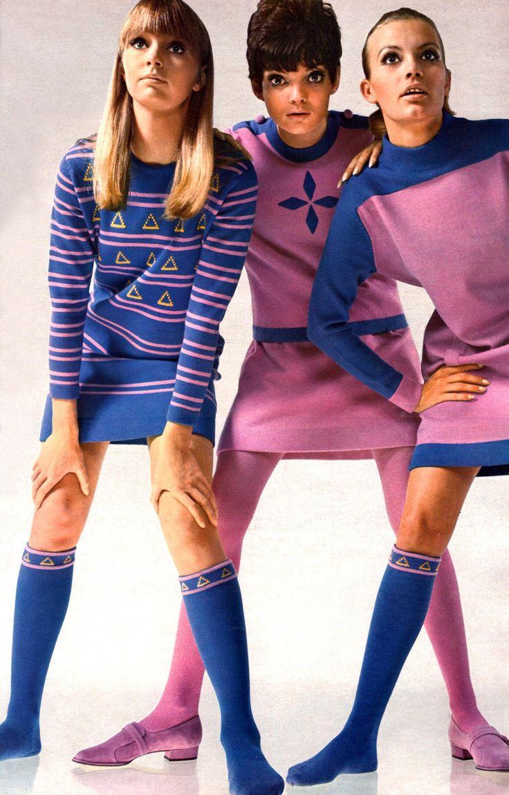 1960s Fashion mod twiggy mini skirt pink purple shoes knee socks dress space age stripes skit sweater