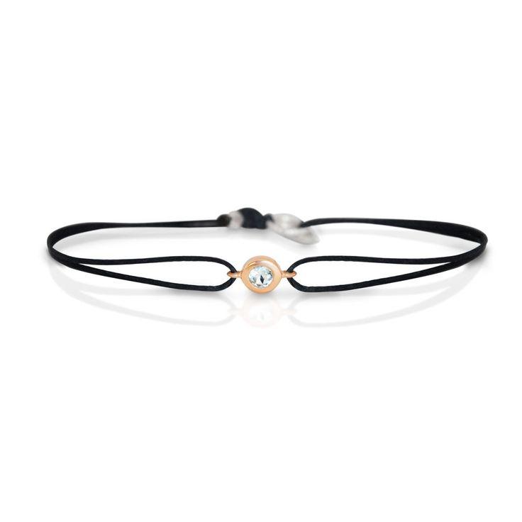 Aquamarine Gemstone Bracelet by Vivien Frank Designs. Handcrafted solid 14k rose gold solitaire bracelet.