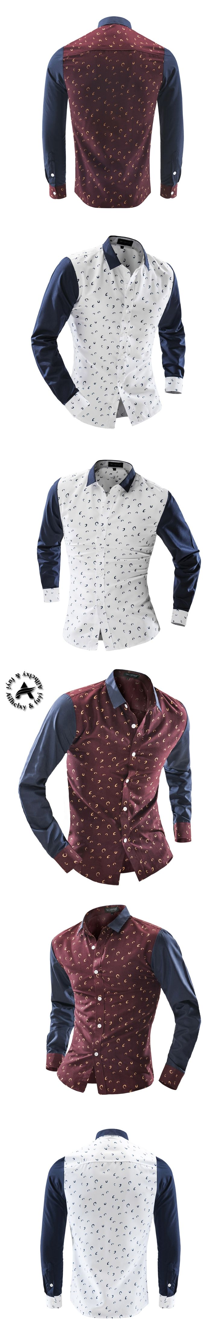 2016 New Casual Men'S Clothing Office Herren Hemden Slim Fit Shirt Fashion Floral Shirts Men Solids Camisa Hombre