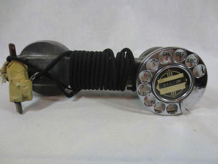 Vintage Metal LINEMAN's ROTARY PHONE HANDSET / BUTTSET ~Line Test ~Art Deco Logo