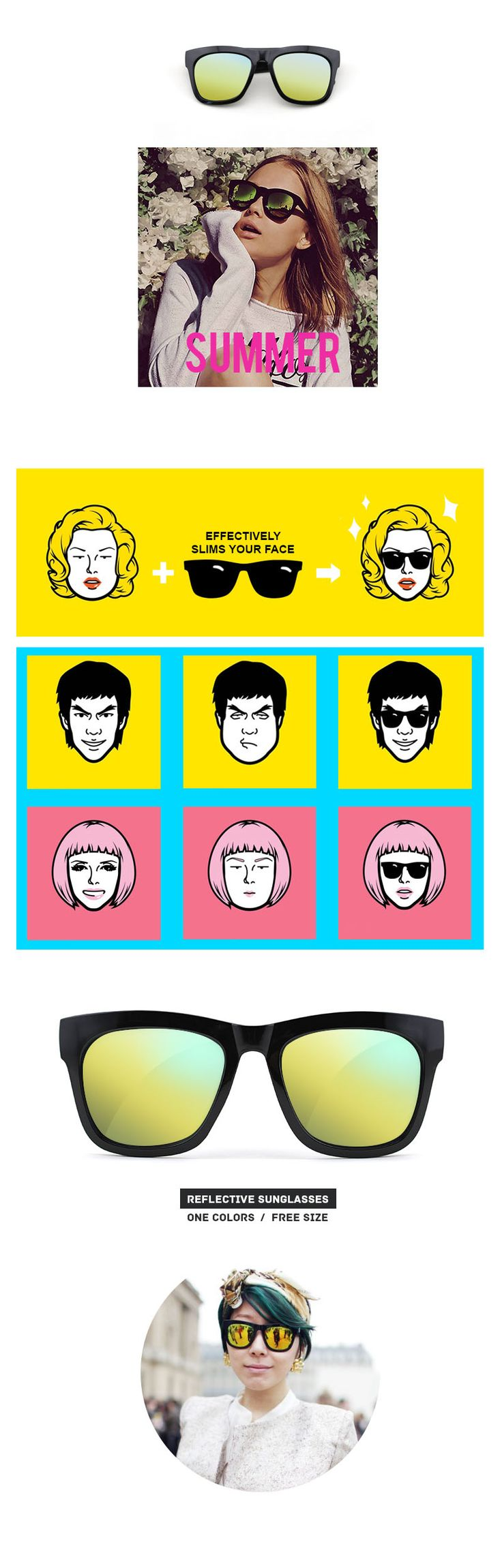 #Slim Face Glasses-reflection lenses-sunglasses-Basic #Slim Face #Glasses #Basic #Reflection Visit - FUNMEMO.COM  to see More