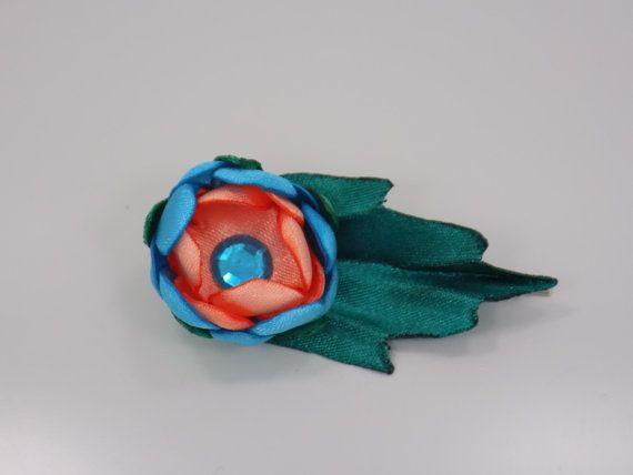 Handmade satin flower hairpin