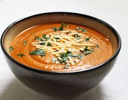 Vegetarian cream of tomato and chickpea soup. Yummy! Cook in the slow cooker so nice and easy as well!