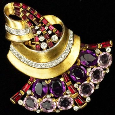 Trifari-039-Alfred-Philippe-039-Gold-Ruby-and-Amethyst-Fan-Swirl-Pin-Clip