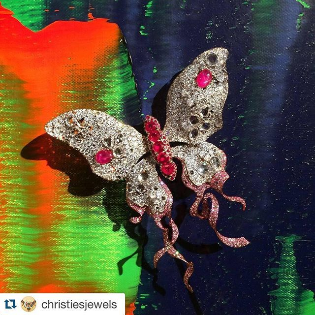 #Repost @christiesjewels with @repostapp. ・・・ Pure Art ! Contemporary butterfly brooch, by @annahu_hautejoaillerie (Christie's Private sales). The Richter from our last 'Post-War and Contemporary Art' Sale is not bad either... #christiesjewels #annahuhautejoaillerie #butterfly #brooch #diamond #rubies #titanium #pinkdiamonds #ChristiesPrivateSales