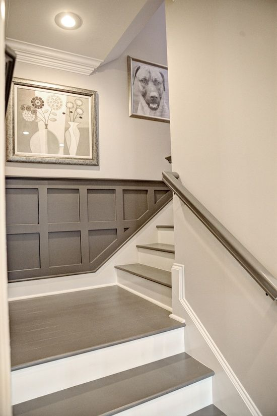 Staircase Detail - Gray Painted Stairs and Railing, Gray Wainscoting. More