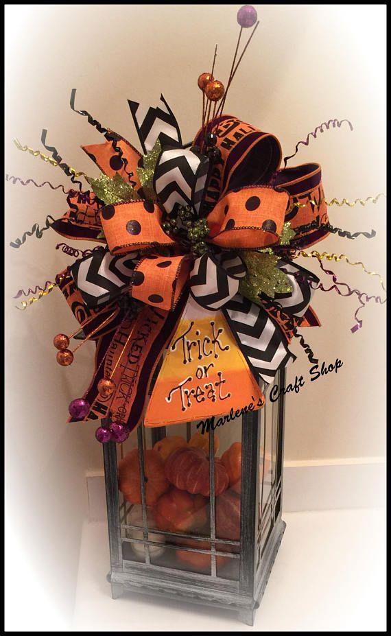 Halloween Lantern Swag Halloween Wreath accent bow Candy