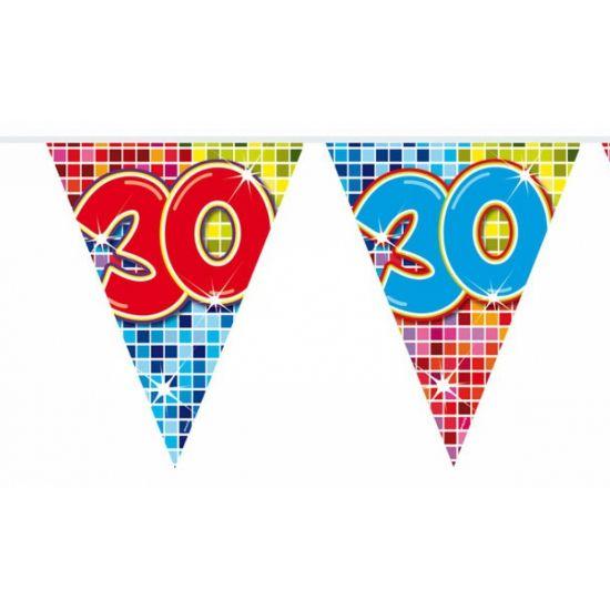Mini vlaggenlijn 30 jaar. Kleine slinger in feestelijke kleuren met het getal 30. De slinger is ongeveer 3 meter lang.