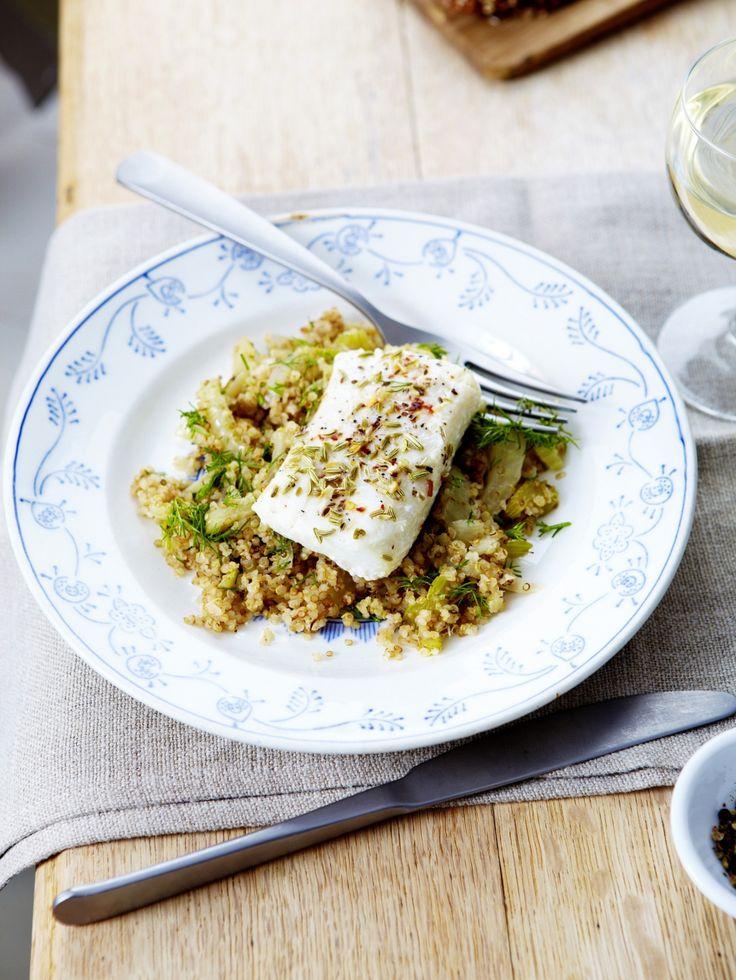Kabeljauwhaasje op z'n Italiaans met een pilaf van quinoa met venkel - Libelle Lekker