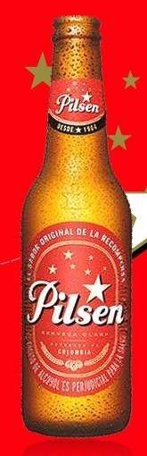 Cerveja Pilsen, estilo Standard American Lager, produzida por Cervecería Bavaria S.A., Colômbia. 4% ABV de álcool.