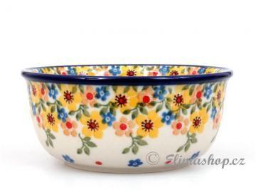 Spring pattern BOWL 13 cm . This Handmade Polish Pottery bowl is from ELIMAshop.cz . Boleslawiec . Bunzlau . ceramics . stoneware . spring design ( miska 13 cm . jaro . ELIMA )