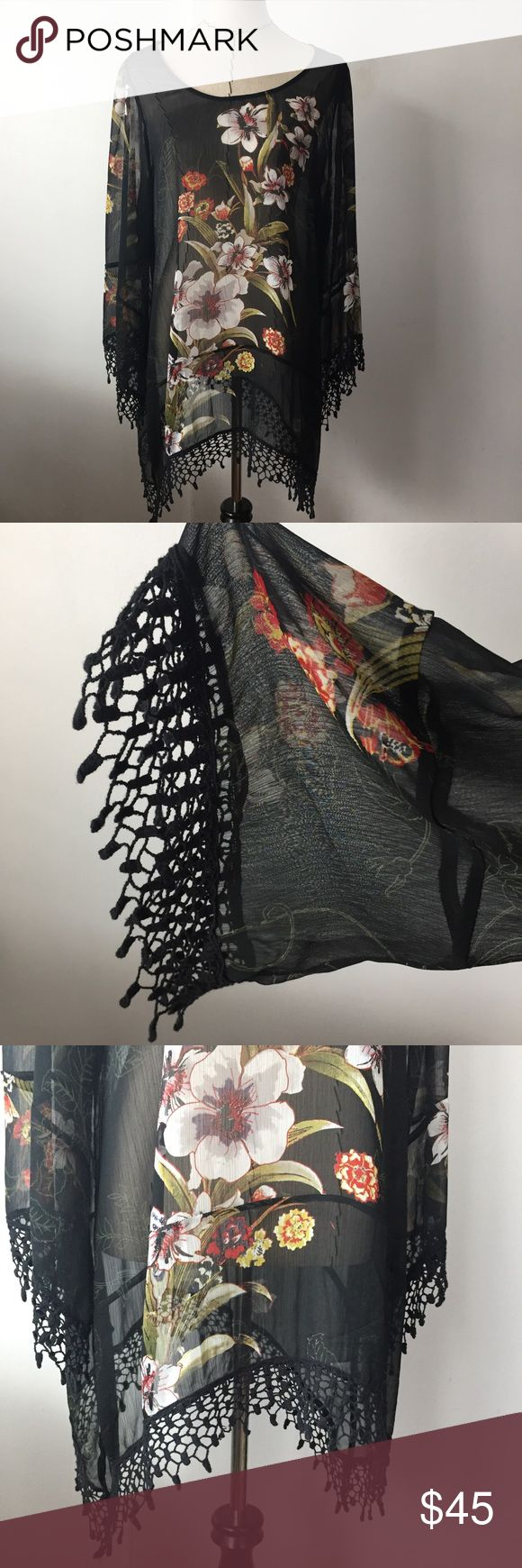 Black floral fringe blouse Super cute black floral blouse! Pair it with jeans for a more casual look or with black pants for a professional look! Semi sheer. Has fringe on the sleeves and bottom of blouse as shown in photo. Mushka by Sienna Rose Inc. Tops Blouses