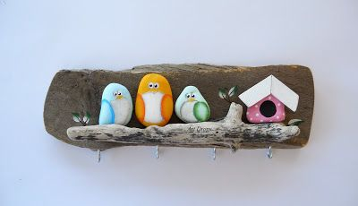 Art Drops: PTICE!... Love the little rock birdhouse!