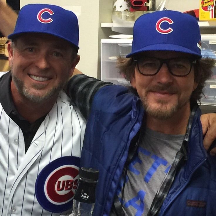 Good times hanging with the king Eddie Vedder before Cubs/Mets game tonight! #PearlJam