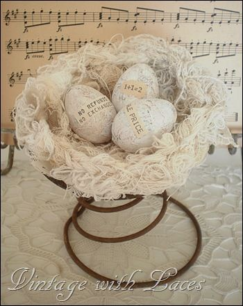 Love this nest made from bits and pieces of string and lace