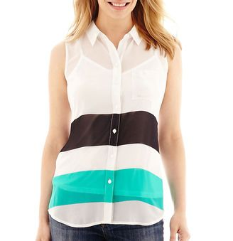 LIZ CLAIBORNE Liz Claiborne Sleeveless Utility Shirt - Petite - Shop for women's Shirt - Fiesta Green M Shirt