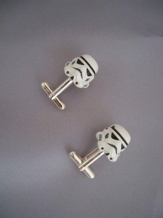 Star Wars White Stormtrooper Cufflinks by BridalGardenBoutique