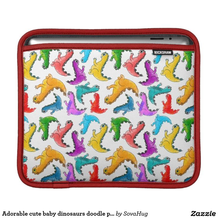 Adorable cute baby dinosaurs doodle picture design sleeves for iPads