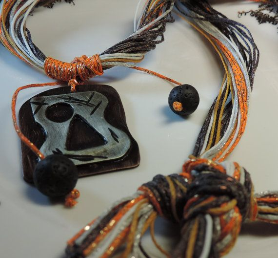 Pendant Cooper bronze oxidized wax rope lava by alcpcreations