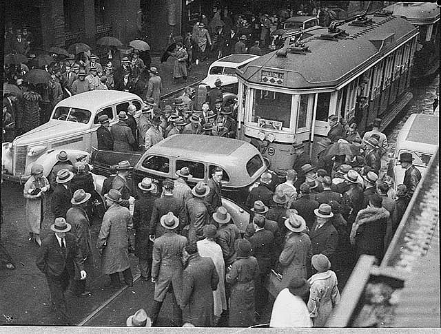 Tram and taxi smash in Pitt Street, 25/6/1937 - Sam Hood by State Library of New South Wales collection, via Flickr