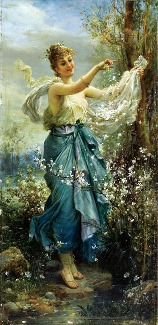 ⊰ Posing with Posies ⊱ paintings & illustrations of women & children with flowers - Hans Zatzka