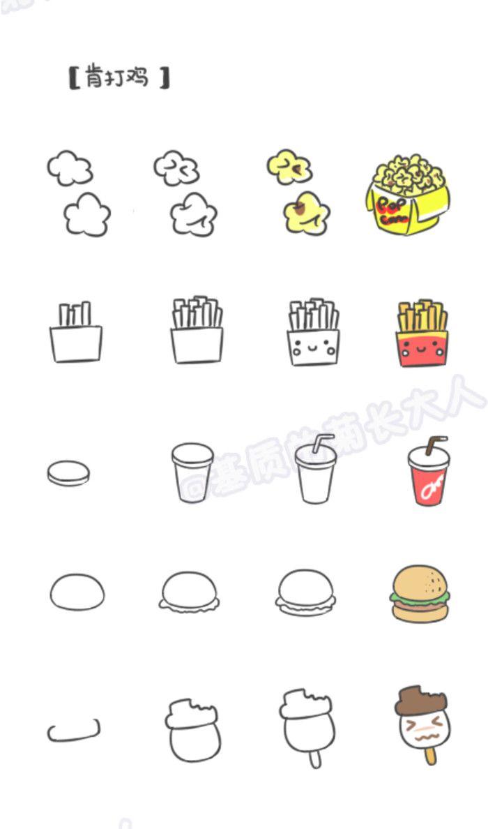 如何画萌萌哒食物---肯打鸡,来自@基质的菊长大人