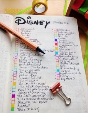 colourful bullet Journal spread showing disney films I want to buy  http://yellowfeatherblog.com/bullet-journal-setup/