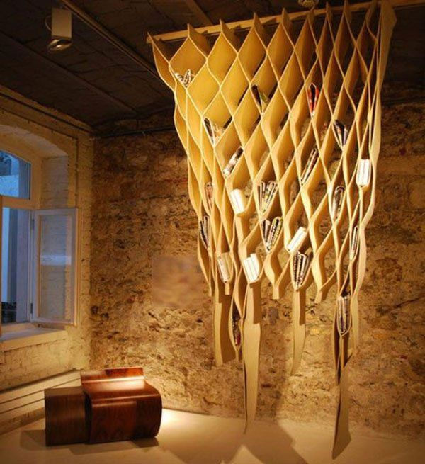 30 Gorgeous And Innovative Bookshelves. Hanging BookshelvesCreative ...