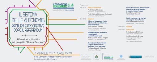 A Pescara Il sistema delle autonomie: problemi e prospettive dopo il referendum