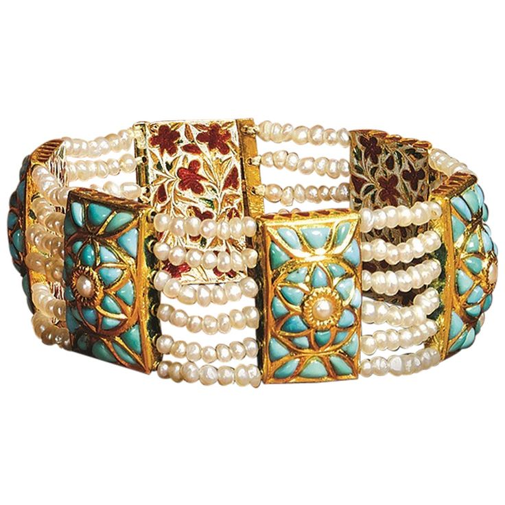 Indian Mughal-Style Enamel Turquoise Pearl Gold Bracelet | From a unique collection of vintage beaded bracelets at https://www.1stdibs.com/jewelry/bracelets/beaded-bracelets/