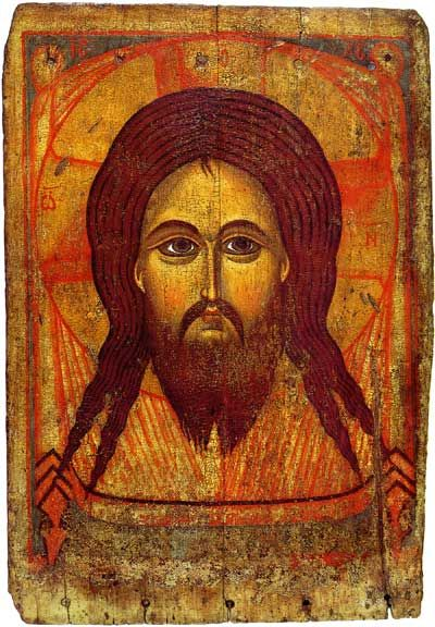 Mandylion (Image of Edessa), first half of the 13th century, Yaroslavl School. According to Christian tradition, the Image of Edessa was a holy relic consisting of a square or rectangle of cloth upon which a miraculous image of the face of Jesus was imprinted — the first icon (image). In Eastern Orthodoxy, and often in English, the image is known as the Mandylion.