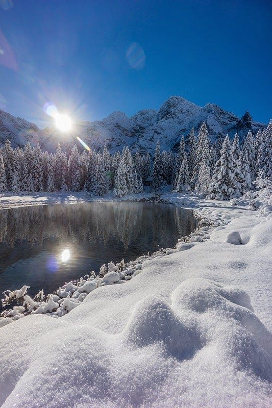 winter, snow, sea eye, kill pond, Mięguszowiecka peaks, Zakopane Poland