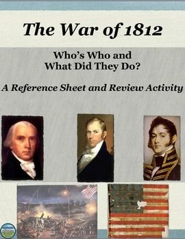 This FREE Who's Who for the War of 1812 reference packet includes 9 men and women your students will encounter in a unit on the War of 1812.  The sheets include the person's name, their image, and a blurb about what they are typically historically noted for.  There are also teacher ideas for extension activities and group reviews.