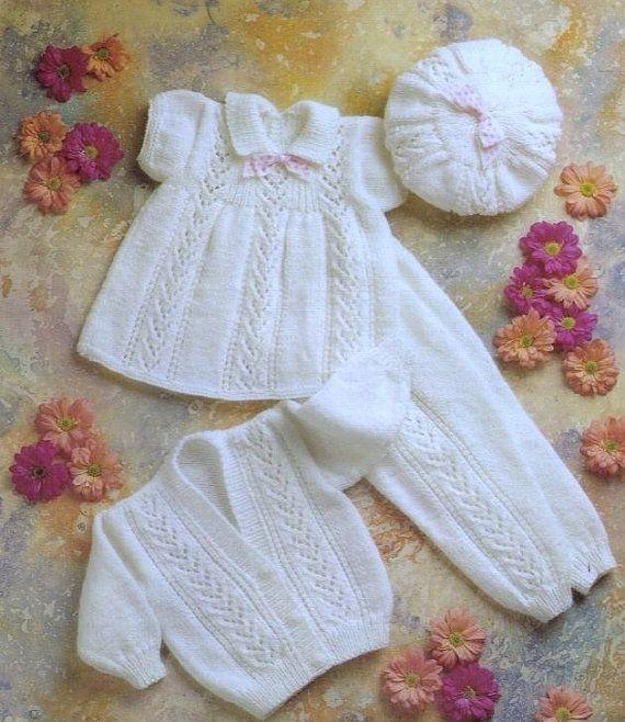 Vintage Baby Pattern Knitted DK Dress Beret Leggings von carolrosa