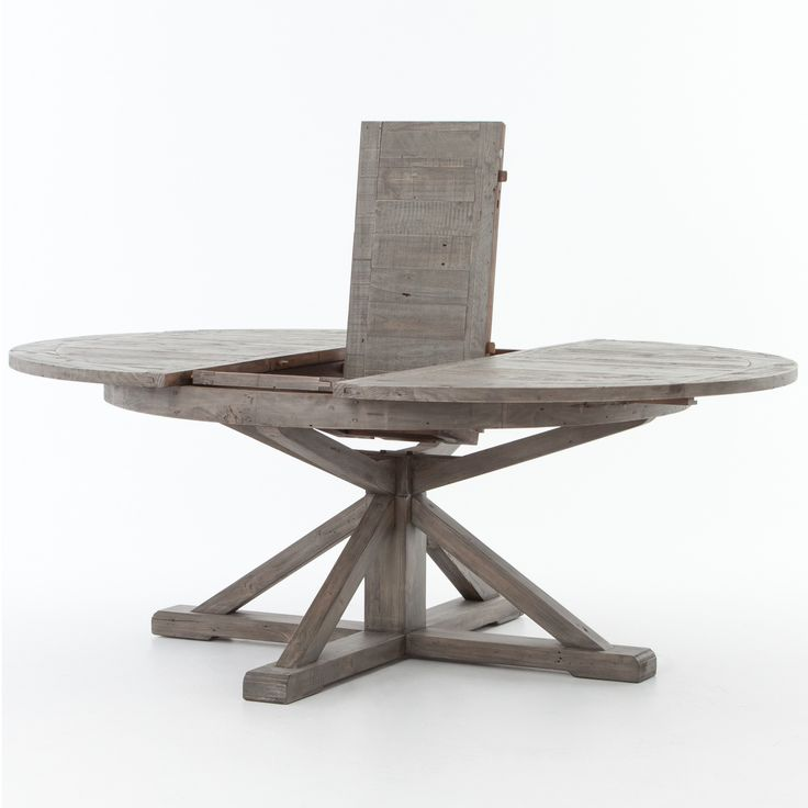 Cintra Reclaimed Wood Extending Round Dining Table 63 GRAY Room TablesRound
