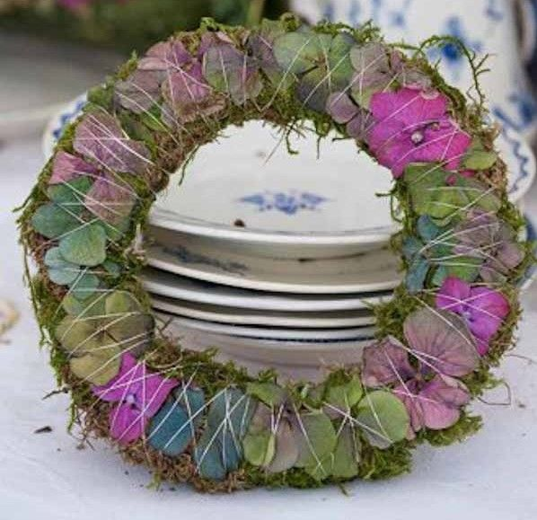 moss wreath, hydrangea petals