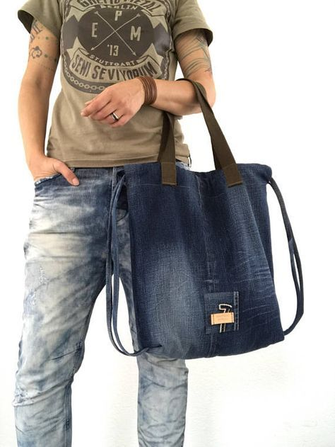 b8fb84db8046af Repurposed GSTAR RAW Denim drawstring backpack and/or tote bag Unlined, one  zippered pocket on the back side Measurements: Width and length: 40 cm (16  in) ...