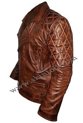 Men's Classic Diamond Motorcycle Brown distressed Vintage real Leather Jacket