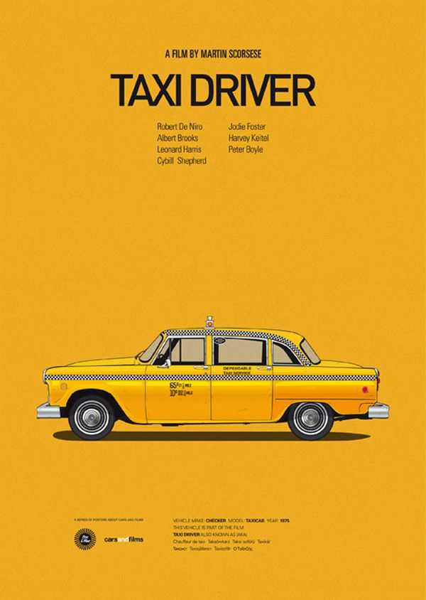 Posters of Famous Movie Cars by Jesús Prudencio. - Taxi Driver   Illustration