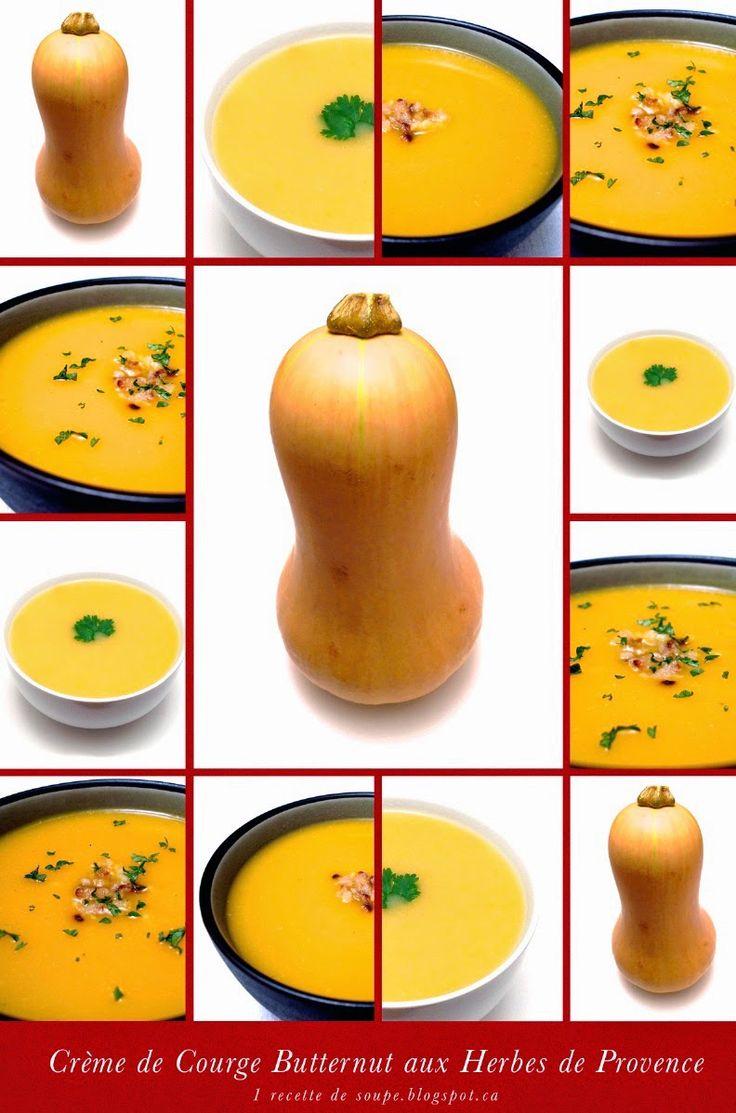 1 recette de soupe: Crème de Courge Butternut aux Herbes de Provence