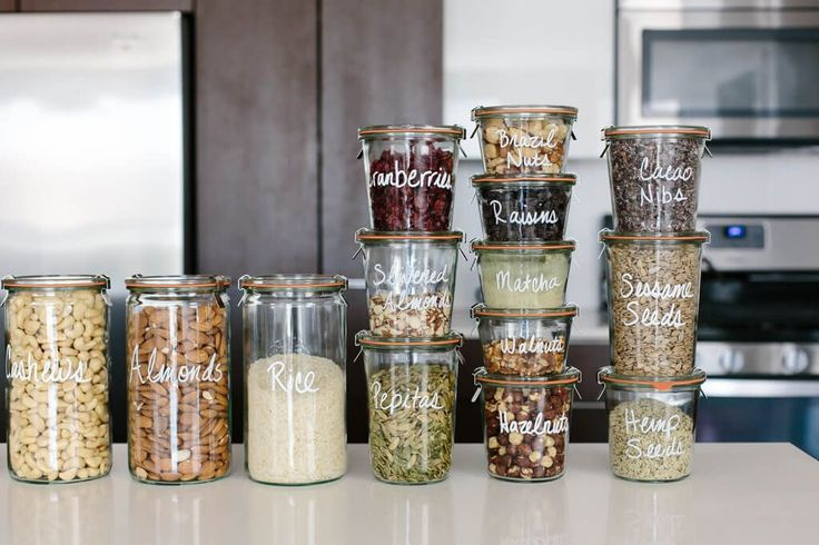 Create a healthy pantry and easily find ingredients (even if your pantry is small) with these glass containers and pantry organization ideas.