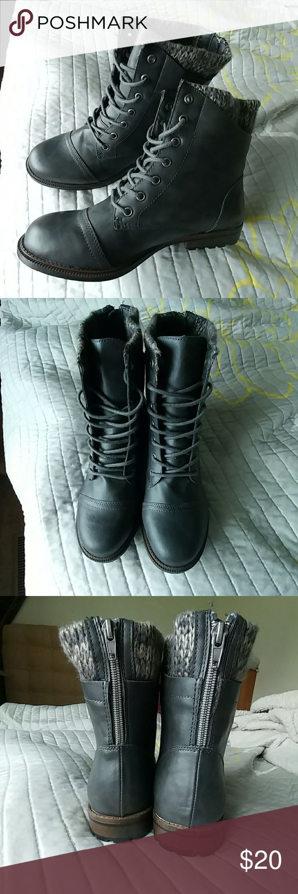 Women's grey boots Size ten, never worn! Brand is faded glory Shoes