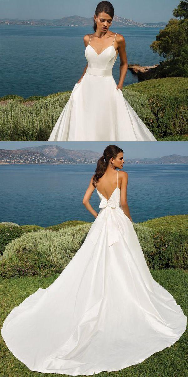 Sexy Spaghetti Straps Satin Wedding Dresses with Bow 2019 A-line Wedding Gowns Stylish