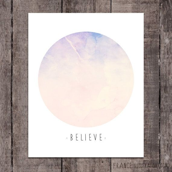 BELIEVE Wall Art /// Abstract Landscape Home by FRANCEillustration, $6.00
